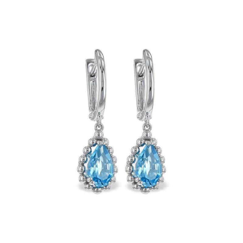 Allison-Kaufman 14k White Gold Blue Topaz Earrings