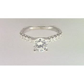 Ladies' 14k White Gold 6 Mm CZ Ring