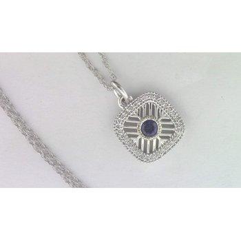 Ladies' 14k White Gold Sapphire Pendant