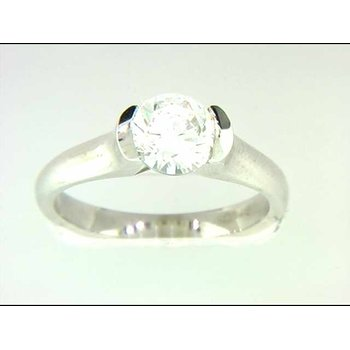 Ladies' 14k White Gold Round CZ Stone Ring