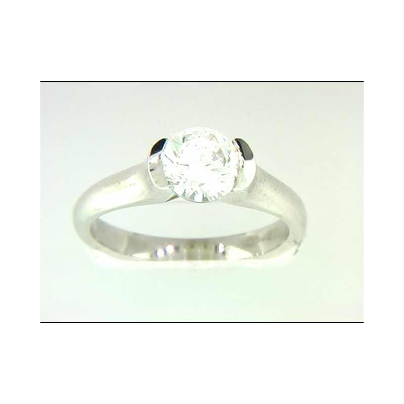 Pugh's Signature Ladies' 14k White Gold Round CZ Stone Ring