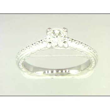 Ladies' 14k White Gold 5 Mm CZ Ring