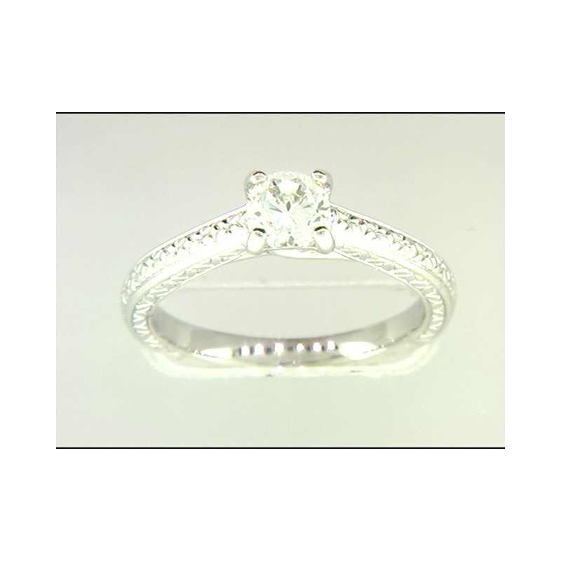 Pugh's Signature Ladies' 14k White Gold 5 Mm CZ Ring