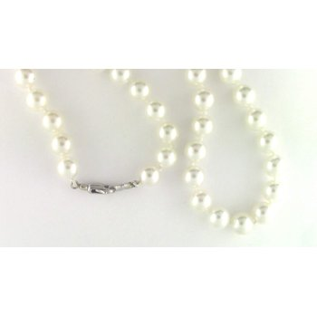 14k White Gold Akoya Cultured Pearl Pearl Strand
