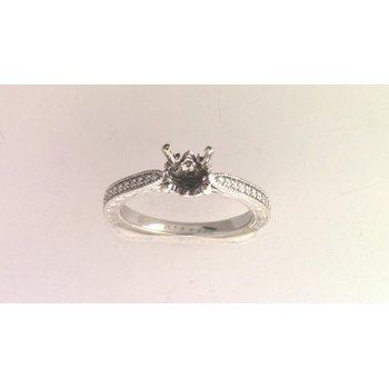 14k White Gold Blank Diamond Semi Mount Ring