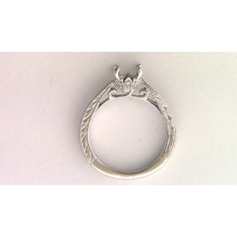 Pugh's Signature 14k White Gold Blank Diamond Semi Mount Ring