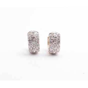 14k White And Yellow Gold Diamond Earrings