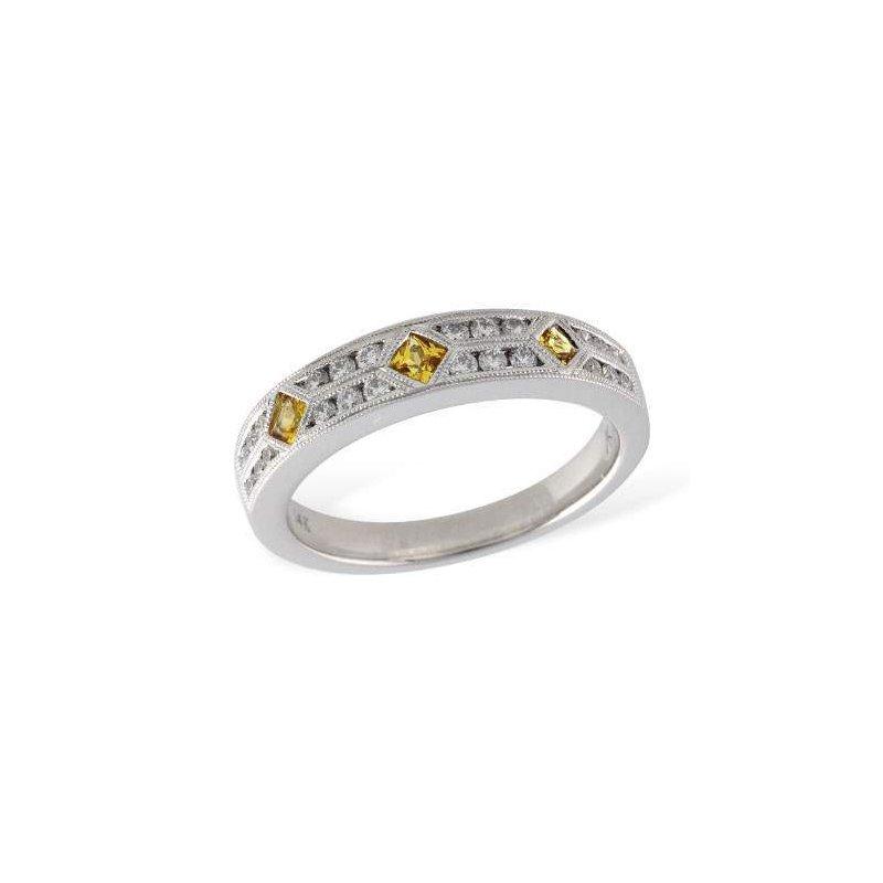 Allison-Kaufman 14k White Gold Yellow Sapphire Ring