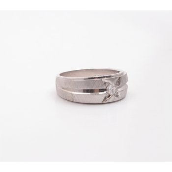 Gentlemans' 14k White Gold Diamond Ring