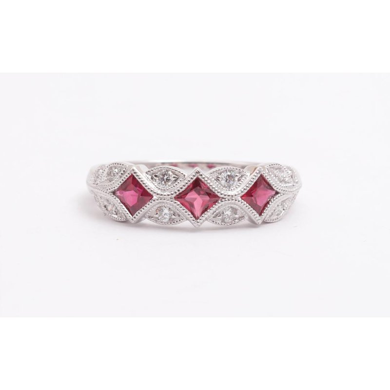 Allison-Kaufman 14k White Gold Ruby Ring