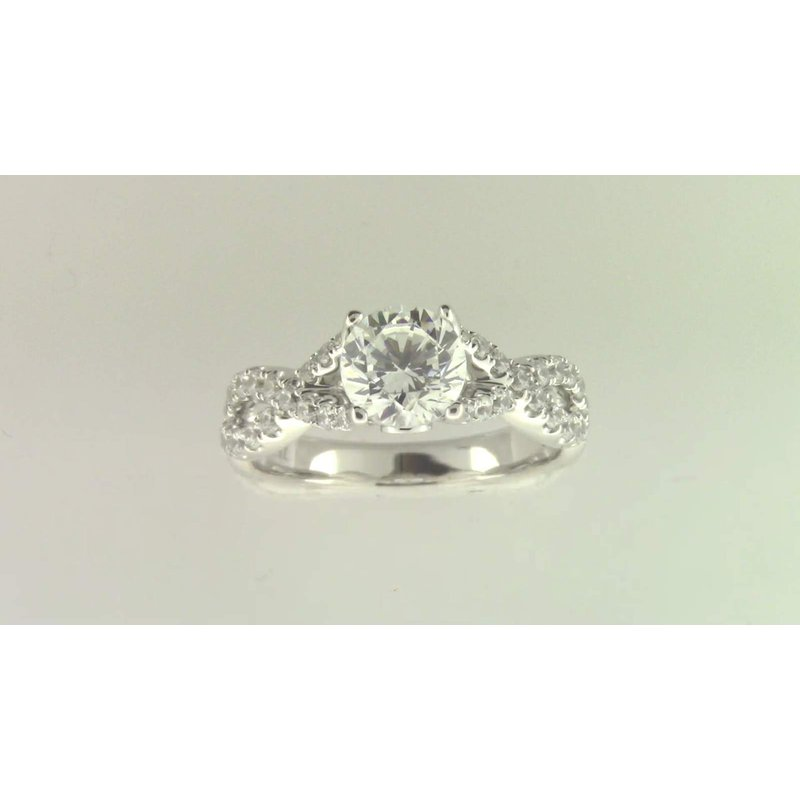Zeghani Ladies' 14k White Gold 6.5 Mm CZ Stone Diamond Semi Mount Ring