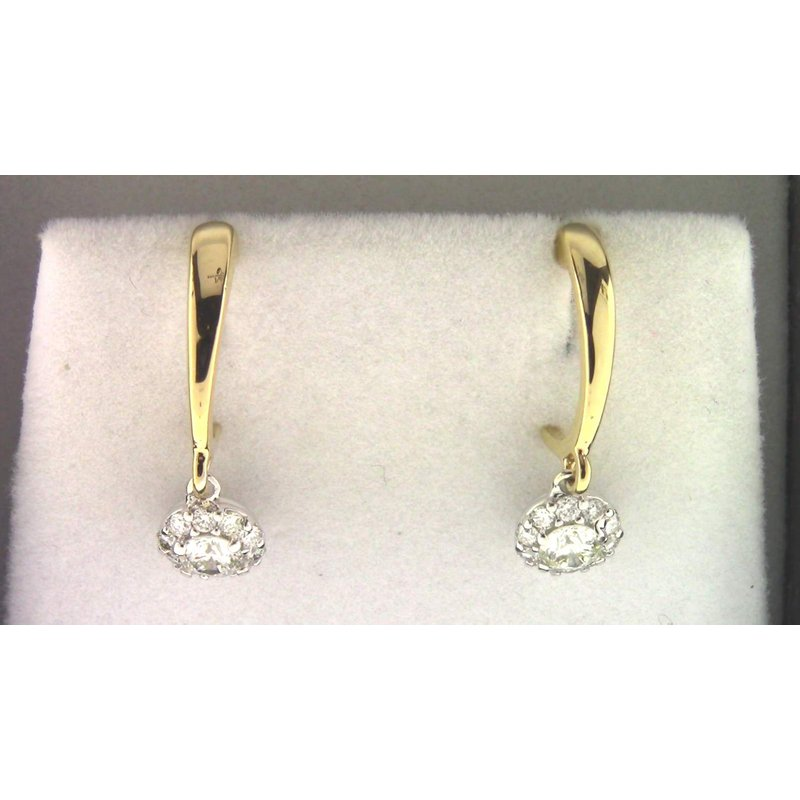 Pugh's Signature Ladies' 14k White And Yellow Gold Diamond Earrings