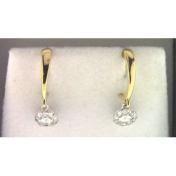 Ladies' 14k White And Yellow Gold Diamond Earrings