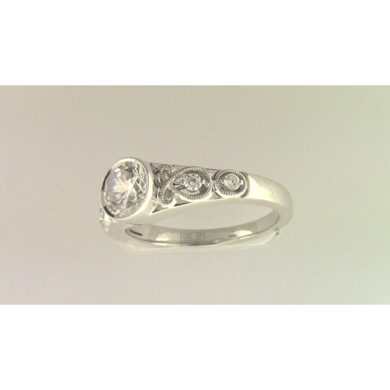 Zeghani Ladies' 14k White Gold 6 Mm CZ Ring