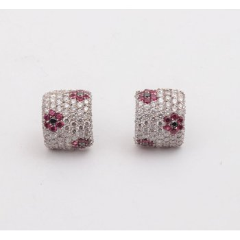 Ladies' Platinum Diamond and ruby earrings