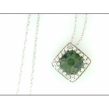Ladies' 14k White Gold Green Sapphire Pendant