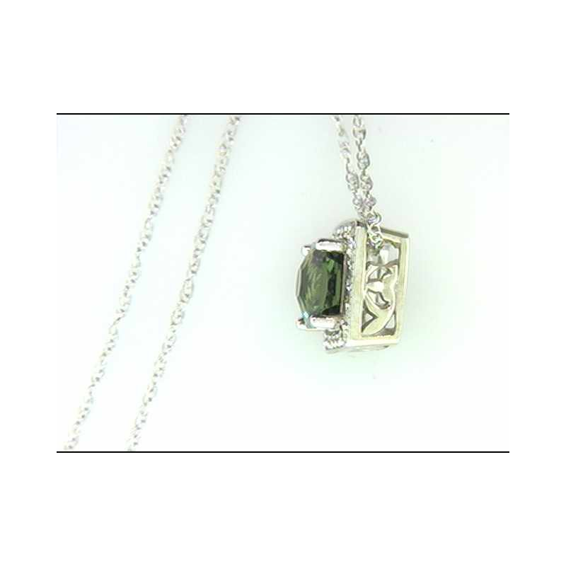Pugh's Signature Ladies' 14k White Gold Green Sapphire Pendant