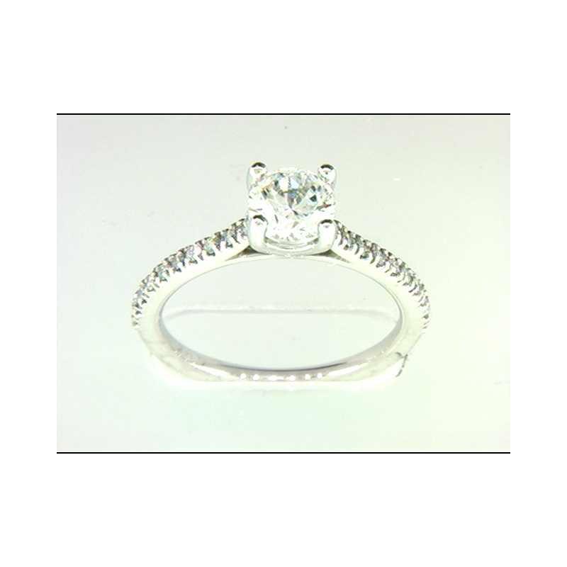 Pugh's Signature Ladies' 14k White Gold 6.5 Mm CZ Ring