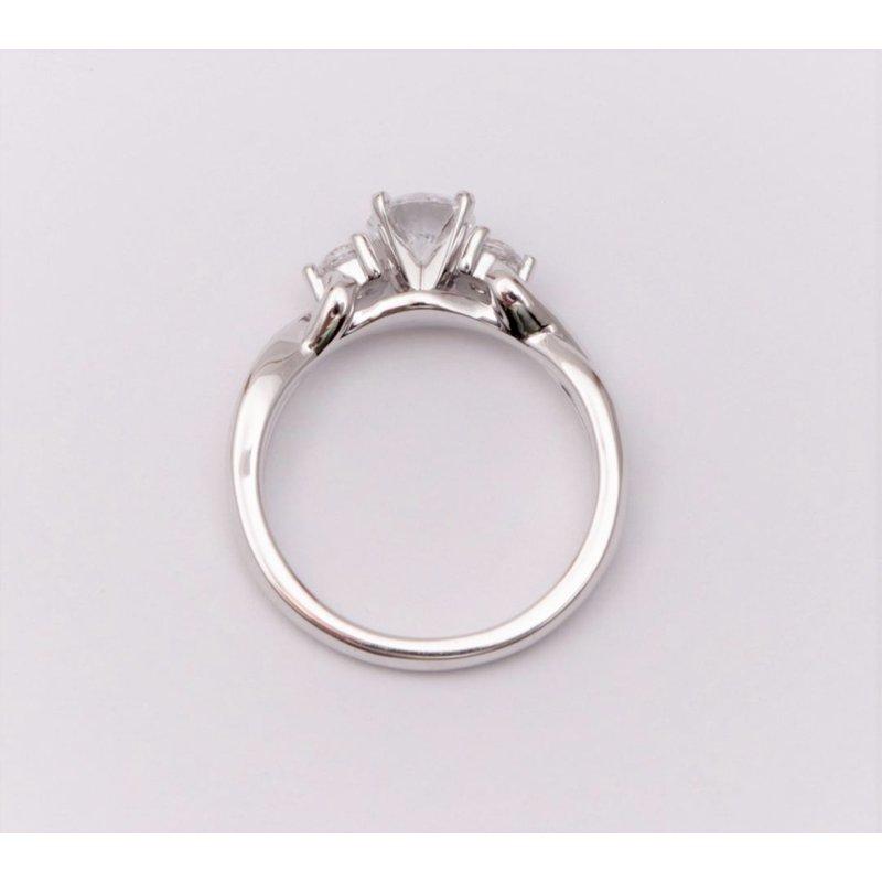 Pugh's Signature 14k White Gold Cz Stone Semi Mount Ring
