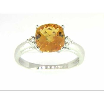 14k White Gold Citrine Quartz Ring