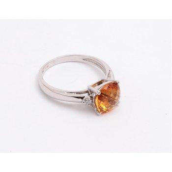 14k White Gold Citrine Quartz Ring