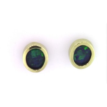 14k Yellow Gold Black Opal Earrings
