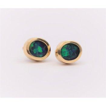 14k Yellow Gold Black Opal Earrings