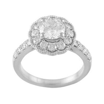 Ladies' 14k White Gold 1/2 Ct CZ Ring