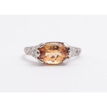 Ladies' Platinum Imperial Topaz and Diamond Ring