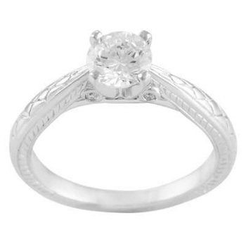 Ladies' 14k White Gold Cz Stone Ring