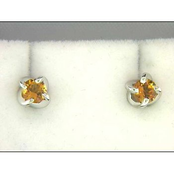 Ladies' 14k White Gold Citrine Quartz Earrings