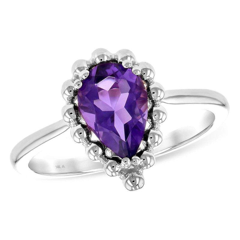 Allison-Kaufman 14k White Gold Amethyst Ring
