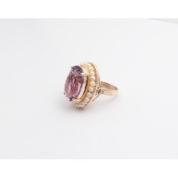 14k Yellow Gold Amethyst Ring