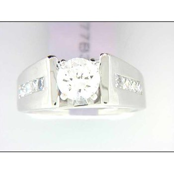 Ladies' 14k White Gold 1 Carat CZ Stone Ring