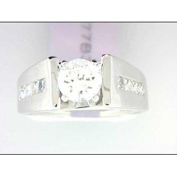 Ladies' 14k White Gold 1 Carat CZ Stone Ring