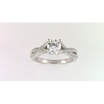 14k White Gold 6.5 Mm CZ Semi Mount Ring