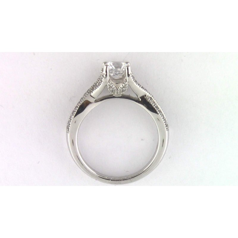 Pugh's Signature 14k White Gold 6.5 Mm CZ Semi Mount Ring