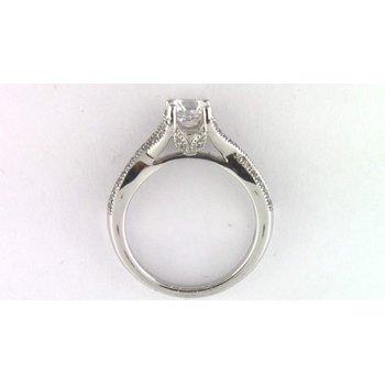 14k White Gold 6.5 Mm CZ Semi Mount Ring