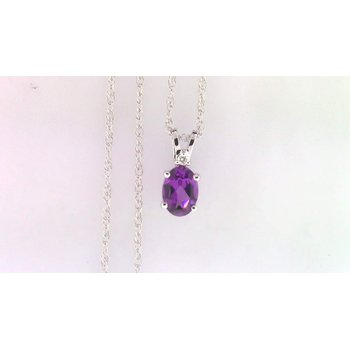 Ladies' 14k White Gold Purple Garnet Pendant