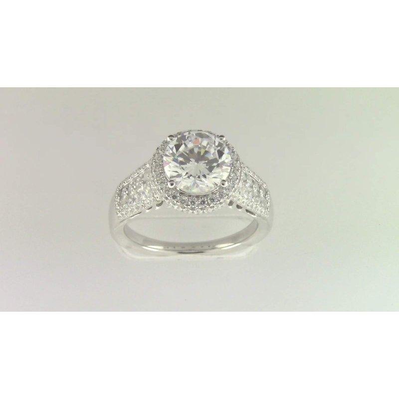 Zeghani Ladies' 14k White Gold 8mm CZ Stone Diamond Semi Mount Ring