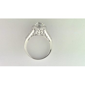 Ladies' 14k White Gold 8mm CZ Stone Diamond Semi Mount Ring
