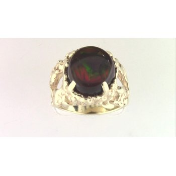 Gentlemans' 14k Yellow Gold Fire Agate Ring