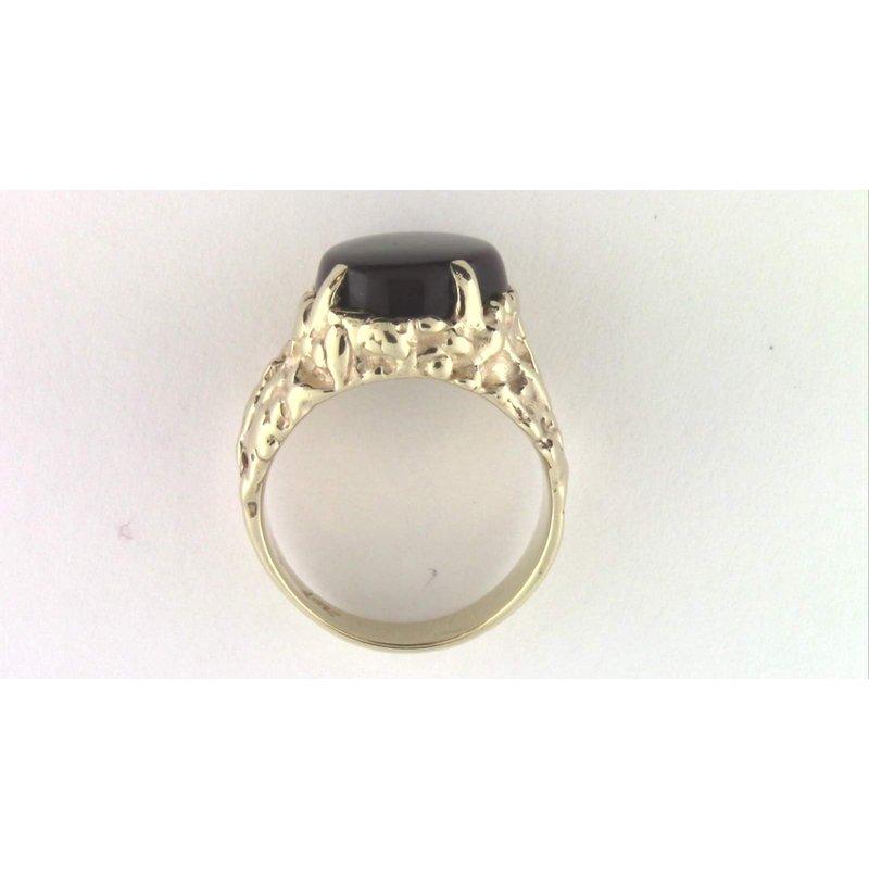 Pugh's Signature Gentlemans' 14k Yellow Gold Fire Agate Ring