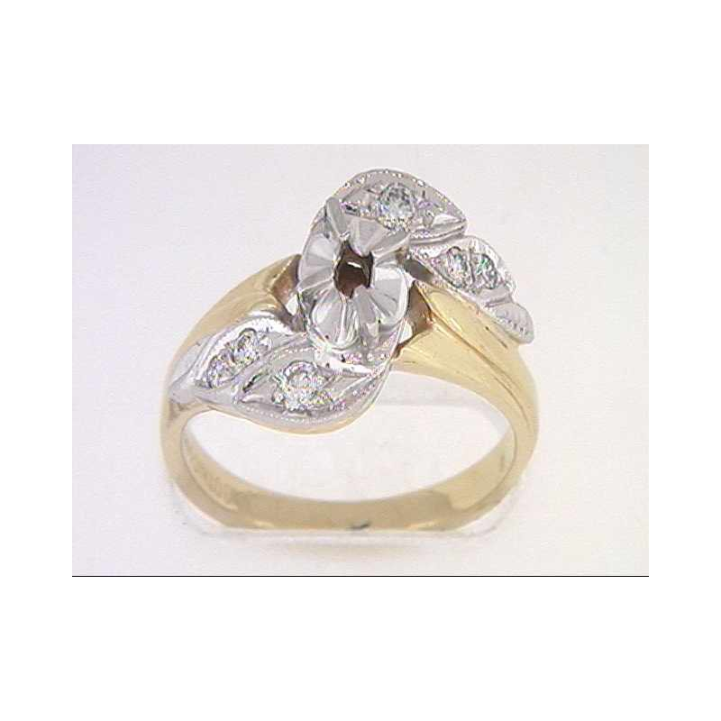 Pugh's Signature 14k White And Yellow Gold Diamond Semi Mounting