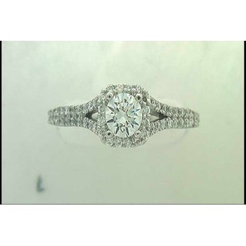 Ladies' 14k White Gold 1/2ct Cz Ring