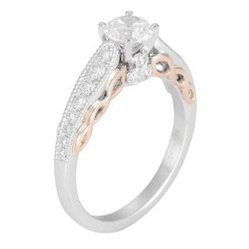 Ladies' 14k White And Rose Gold 5.5 Mm CZ Diamond Semi Mount Ring