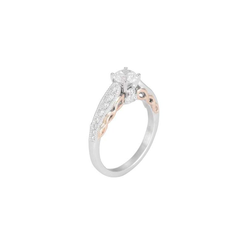 Pugh's Signature Ladies' 14k White And Rose Gold 5.5 Mm CZ Diamond Semi Mount Ring