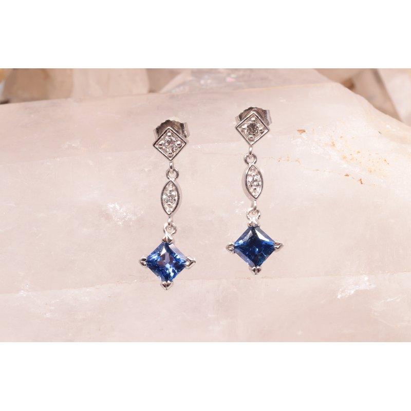 Pugh's Signature Ladies' 14k White Gold Sapphire Earrings