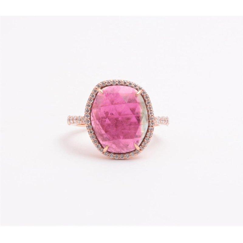 Zeghani Ladies' 14k Rose Gold Watermelon Tourmaline Gemstone Ring