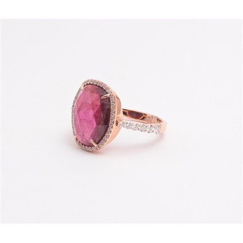 Ladies' 14k Rose Gold Watermelon Tourmaline Gemstone Ring